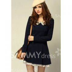 $12.67 Sweet Style Cute Lapel Lace Embellished Long Sleeve Cotton Blend Dress For Women