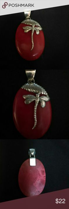 925 Sterling Balinese Red Coral Pendant Beautiful Red Coral Pendant topped with dragonfly. Jewelry Necklaces
