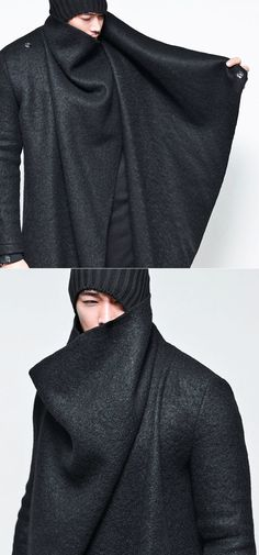 GuyLook - Avant-garde Unbalance Turtle Drape-Coat