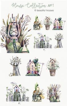 Watercolor Design, Watercolor Illustration, Watercolour, Forest Theme, Cute Clipart, Fairy Houses, Art Tips, Christmas Themes, Beautiful Homes