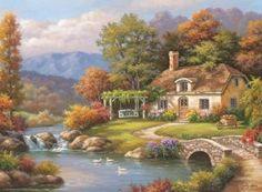 Cottage Stream 1000 Piece Jigsaw Puzzle by Anatolian