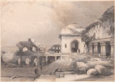 Original 1839 Engraving Ruins at Futtehpore, Sikri from The Oriental Annual