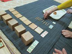 I Believe in Montessori: Montessori material presentation. Montessori Kindergarten, Homeschool Math, Picnic Blanket, Outdoor Blanket, Learning Cards, Forest School, Montessori Materials, Believe, Presentation