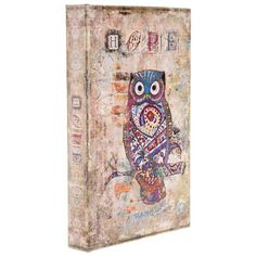 Vintage Owl Print Lined Book Box