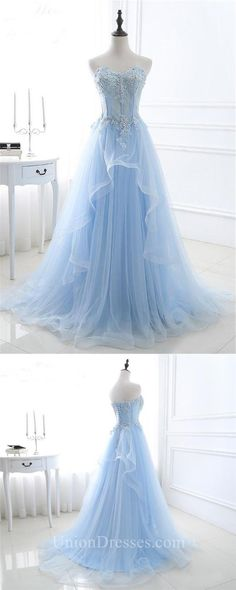 A Line Sweetheart Corset Light Blue Tulle Ruffle Applique Beaded Prom Dress M000123#prom #promdress #promdresses #longpromdress #promgowns #promgown #2018style #newfashion #newstyles #2018newprom#eveninggowns#aline#sweetheart#lightblue#tulle#applique#beaded