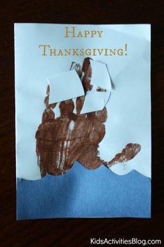 {Cute Preschool Craft} handprint pilgrim ship card