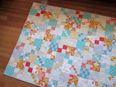Vintage Tangerine. Gorgeous colors and beautiful dogwood quilting. #quilts