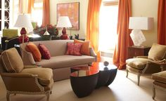 Amanda Nisbet Design & feng shui color power- a roundup! Interior, Feng Shui, Home, Contemporary Interior Design, Living Room Red, Feng Shui Colours, Living Room Orange, Top Interior Designers, Burnt Orange Curtains