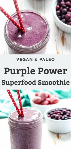 Kick your health up a notch with this Purple Power Superfood Smoothie. Using berries rich in antioxidants, plus acai powder for a superfood boost. Dairy Free Recipes Easy, Dairy Free Options, Whole Food Recipes, Snack Recipes, Drink Recipes, Vegan Recipes, Dinner Recipes, Healthy Vegan Breakfast, Healthy Fats