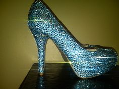 Something Light Blue Swarovski Crystal Shoe by Blingedoutbliss, $350.00. Wouldn't wear them but would love to just watch them sparkle :)