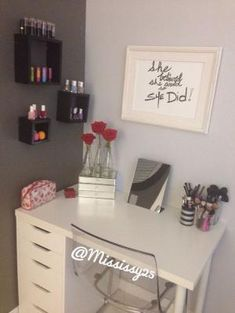 IKEA DIY vanity. Alex drawers, tabletop and legs. Minimalist white design. Efficient Makeup storage. Beauty community, popular on Youtube. by esperanza