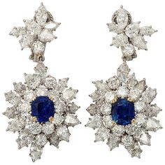 HARRY WINSTON Sapphire Diamond Drops ❤ liked on Polyvore featuring jewelry, earrings, accessories, diamond jewelry, earring jewelry, diamond earrings, sapphire jewelry and harry winston