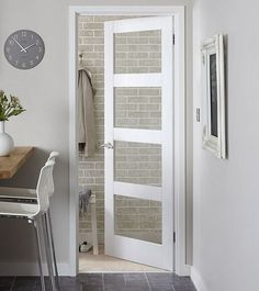 ❤️ these as downstairs internal doors - Primed 4 Panel Shaker glazed door Shaker Interior Doors, Interior Glazed Doors, White Interior Doors, White Doors, Contemporary Internal Doors, Solid Oak Internal Doors, 4 Panel Shaker Doors, Room Divider Doors, Porch Doors