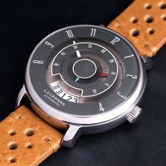 Automatic watch with unique classic-cars tachometer dial design and genuine Italian leather strap. Seiko Automatic, Automatic Watch, Cool Watches, Unique Watches, Timex Watches, Luxury Watches For Men, Beautiful Watches, Hand Designs, Vintage Watches