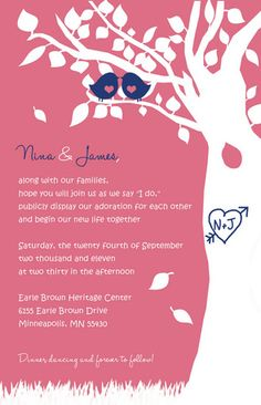 Love Birds in a Tree Wedding Invitation