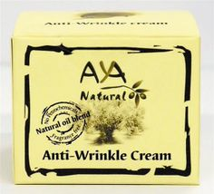 AYA Natural Anti-Wrinkle Cream 50m l/ 1.7 fl. oz | Yardenit.com  This combination is rich in vitamins, essential fatty acids, antioxidants and minerals. It moisturizes your skin, is known to regenerate skin cells and smoothes ,freshens skin, good for stretch marks, dull skin, skin-exhaustion, and poor circulation. It is suitable for ageing skin, moisturizes smoothes and freshen your skin. Ingredients: Purified Aqua, Olive oil, AYA Natural emulsifier, Jojoba oil, Avocado oil...