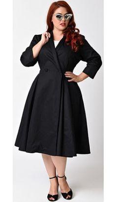 Unique Vintage Plus Size Black Three-Quarter Sleeve Button Up Bordeaux Dress Coat