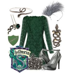 """""""Slytherin - Yule Ball"""" by eliley on Polyvore"""