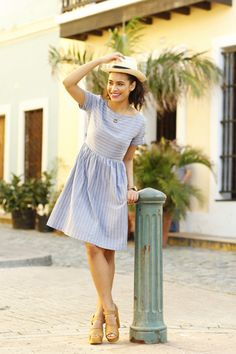 Lola Fit and Flare Dress Blue