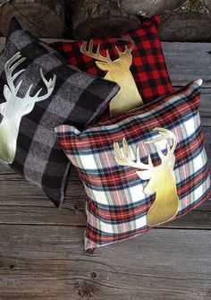 Buffalo Plaid Pillow Lodge Decor Deer Pillow Gold by JadieCakes