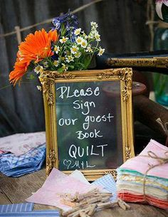A beautiful, sentimental alternative to a guest book! Have guests sign fabric squares, then have them made into a quilt to treasure as a family keepsake. Guest book quilt with gold frame wedding sign. Creative Wedding Favors, Inexpensive Wedding Favors, Diy Wedding Gifts, Wedding Gifts For Guests, Wedding Party Favors, Wedding Cards, Wedding Book, Dream Wedding, Wedding Decorations