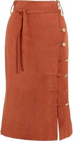 Burnt-orange suede Asymmetric button fastenings through front suede (Lamb) Specialist clean Designer color: Windsor Made in Italy Modest Fashion, Fashion Dresses, Women's Fashion, Orange Skirt, Suede Skirt, Leather Skirt, Dress Sewing Patterns, Elegant Outfit, Dress Skirt