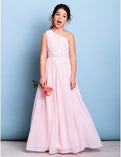 Junior Bridesmaid Dress Floor-length Chiffon A-line One Shoulder Dress – USD $ 79.99