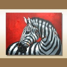 Red zebra Oil painting Stretched Canvas Wall Art Decorative Paintings Ready to Hang cy037