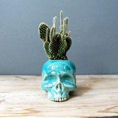 Turquoise Blue Skull planteur  parfait pour les par mudpuppy