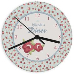Personalise this Vintage Floral Glass Clock perfect for the kitchen