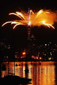 Fireworks are let off from the Auckland Sky Tower to celebrate the New Year in Auckland, New Zealand. (Jan. 1, 2014)