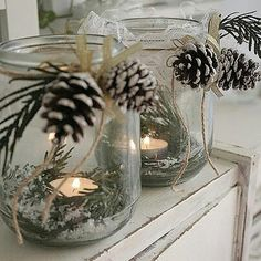 Add a splash of red & these are perfect! I'll mix them into a table runner garland