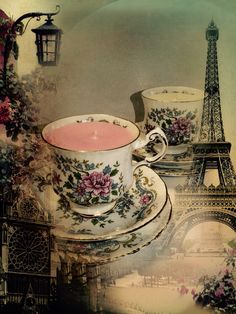 Rustic teacup and saucers with a beautiful Paris look about them . Rescued from a local charity shop and up cycled to candles ! Strawberry and champagne and sweet pea #paris #candle #vintage #love #romantic #candles #upcycle #flowers #france