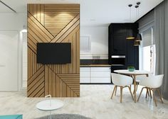 Modern wall design: 70 pictures, ideas and tips for a wall as an accent in the room - Home Decoration Blue Accent Walls, Room Design, Small Spaces, Interior, Apartment Design, Apartment Interior, Tv Wall Design, Wall Design, Living Room Tv