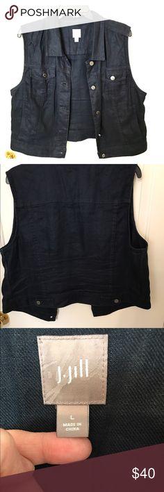 Linen vest with silver hardware A great dressy alternative do a denim vest J. Jill Jackets & Coats Vests