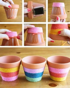 Flower Pots Do It Yourself - yarn wrapped flower pots! Add some bright color to your flower pots with this easy to do fun craft.Do It Yourself - yarn wrapped flower pots! Add some bright color to your flower pots with this easy to do fun craft. Flower Pot Crafts, Clay Pot Crafts, Crafts To Do, Crafts For Kids, Arts And Crafts, Crafts With Yarn, Diy Flower, Painted Flower Pots, Painted Pots