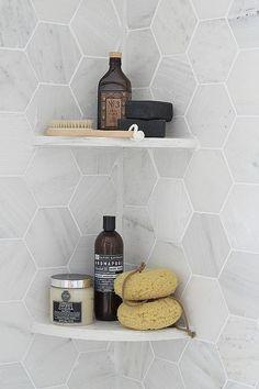 Modern Gray - Shower Organization - Hexagon Tile - Bathroom Ideas - Kitchen Design —I like the tiles shape, but I also like the corner shelves Bathroom Renos, Laundry In Bathroom, Bathroom Interior, Master Bathroom, Bathroom Ideas, Master Shower, Bathroom Shower Organization, Bath Room Tile Ideas, Houzz Bathroom
