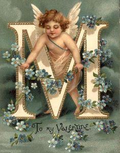 """M"" ~ Vintage Angel Alphabet Postcard. Images Vintage, Vintage Cards, Vintage Postcards, Decoupage, Vintage Illustration, Etiquette Vintage, Alphabet And Numbers, Alphabet Letters, Letter Art"