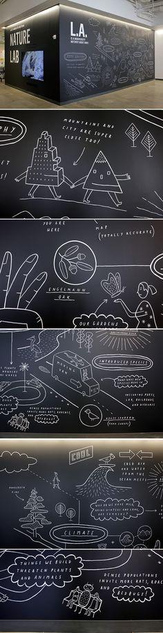 Kindermalerei hinter der Bar, auch Logos der Marken im Thekenbereich mit Kreide