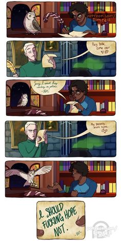 some drarry based on a text post support my art on patreon Harry Potter Comics, Harry Potter Puns, Draco Harry Potter, Harry Potter Ships, Harry Potter Universal, Harry Potter World, Albus Severus Potter, Drarry Fanfiction, Drarry Fanart