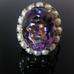 Edwardian style Amethyst and Pearl Ring Edwardian Style, Edwardian Fashion, Amethyst Jewelry, Pearl Jewelry, Diamond Rings, Diamond Engagement Rings, Galway Ireland, Pearl Ring, Unique Vintage
