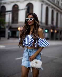 Cant believe the of July is one week from today. // Outfit details linked in my bio. Girls Summer Outfits, Summer Girls, Cute Outfits, Spring Summer, Instagram Outfits, Denim Mini Skirt, Mini Skirts, Effortlessly Chic Outfits, Summer Stripes