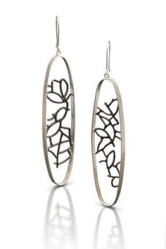 Long Oval Landscape Earrings by Beverly Tadeu: Silver Earrings available at www.artfulhome.com