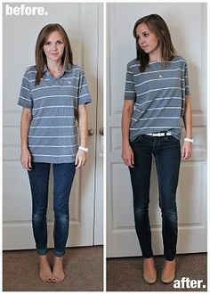 i gotta try this...polo turned boatneck..buy cheap mens shirts at thrift stores. super inexpensive and they turn out so cute!