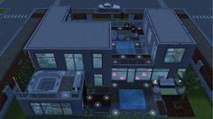Rear view of La Sim at night - in my Sims Freeplay