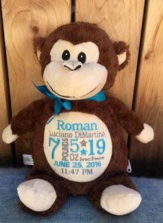 Personalized baby gift embroidered baby gift monkey stuffed animal personalized baby gift monogrammed cubbies monkey new baby birth announcement wildlife baby boy gift baby girl gift photo prop zoo animals negle Gallery