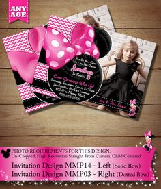 HUGE SELECTION Pink Minnie Mouse Invitation, Minnie Mouse Birthday Printables, Photo Invitation, Digital Invitation, Pink Chevron Invitation by ThePrintableOccasion on Etsy https://www.etsy.com/listing/167703803/huge-selection-pink-minnie-mouse