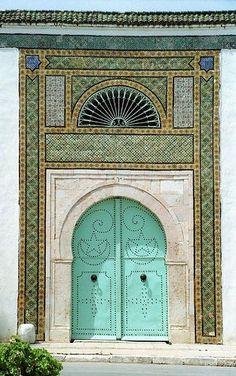 Tunisian door  Aqua, green, tea, blue, black, grey, teal