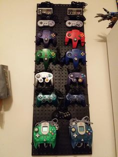 Wall of gaming controllers