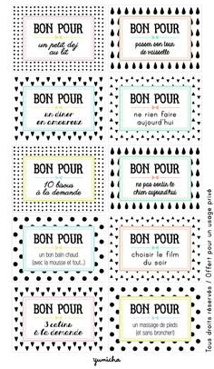 Bon pour ... Love this! Little redeemable give certificates in French